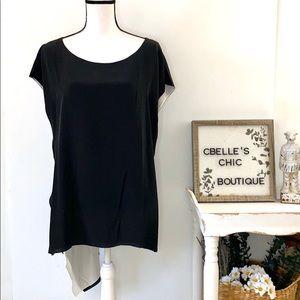 Eileen Fisher Black Silk Crepe Asymmetrical Top XL